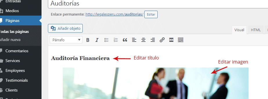 Editar páginas Legales