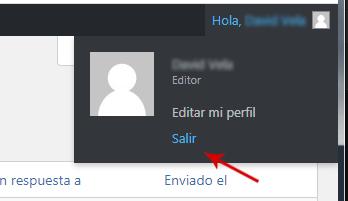 Cerrar sesión WordPress